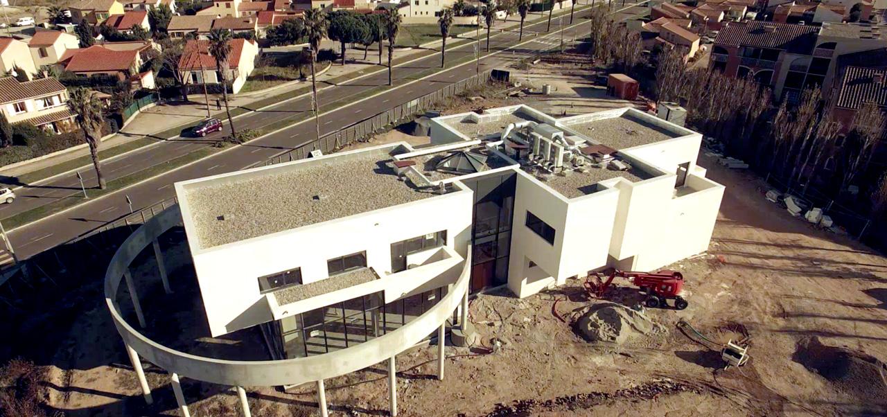 Vue aérienne construction bâtiment OT