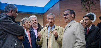 Le maire, M. Vignes le préfet des P.-O et Didier Codorniou vice-président de la Région